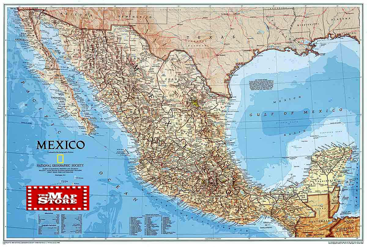 Mexico Wall Map Laminated By National Geographic L Free Maps - Maps mexico