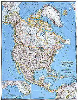America North Wall map laminated by National Geographic l free