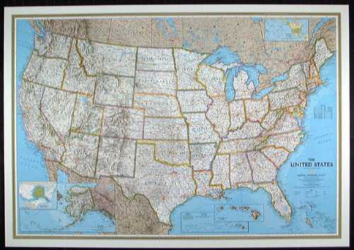 US National Geographic Political Small Map Laminatedhtm Free - Map chart us political