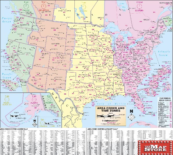 United Statesarea Code Wall Map Page Free Maps Globes Geo - Us maps with time zones