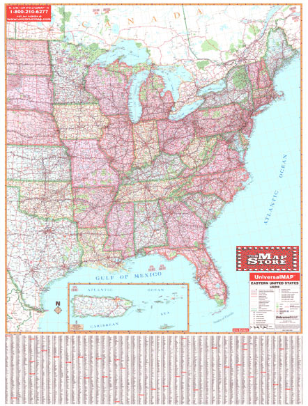 Eastern United States Wall Map Page Free Maps Globes Geo - Road map of eastern us states