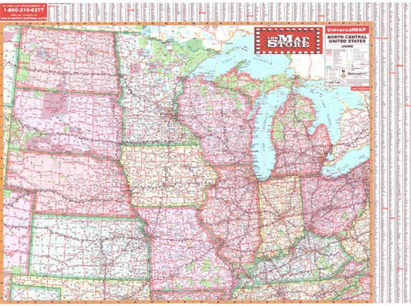 North Central United States Wall Map Page Free Maps Globes - Free us road map
