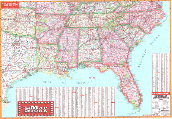 SouthEast United States Wall Map Page Free Maps Globes Geo - Map of southeast us